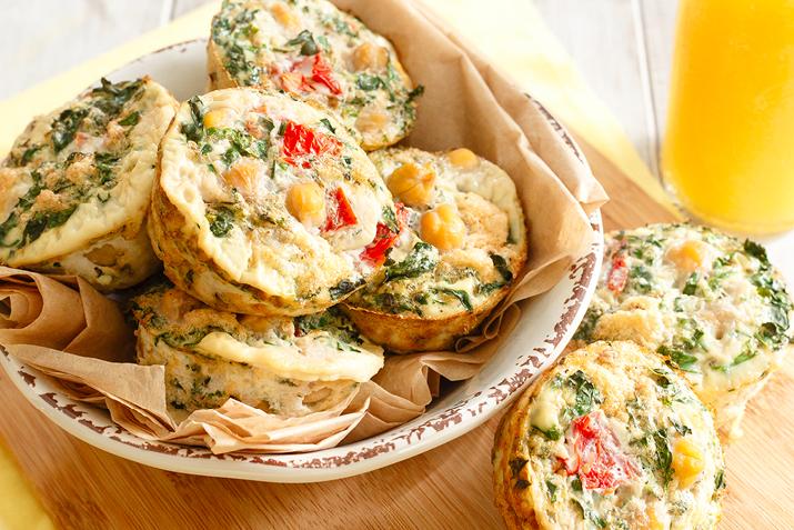 Kale and Chickpea Mini Frittatas