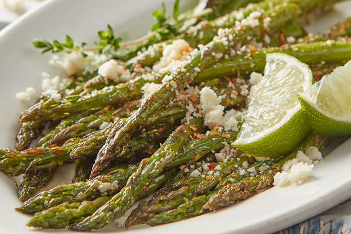Broiled Asparagus with Cotija