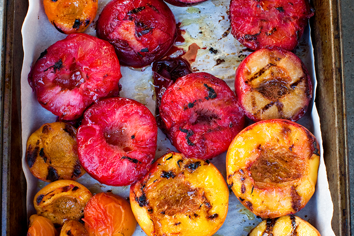 Grilled Stone Fruit with Vanilla Ice Cream