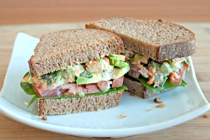 """Tempeh """"Chicken"""" Salad Sandwich"""
