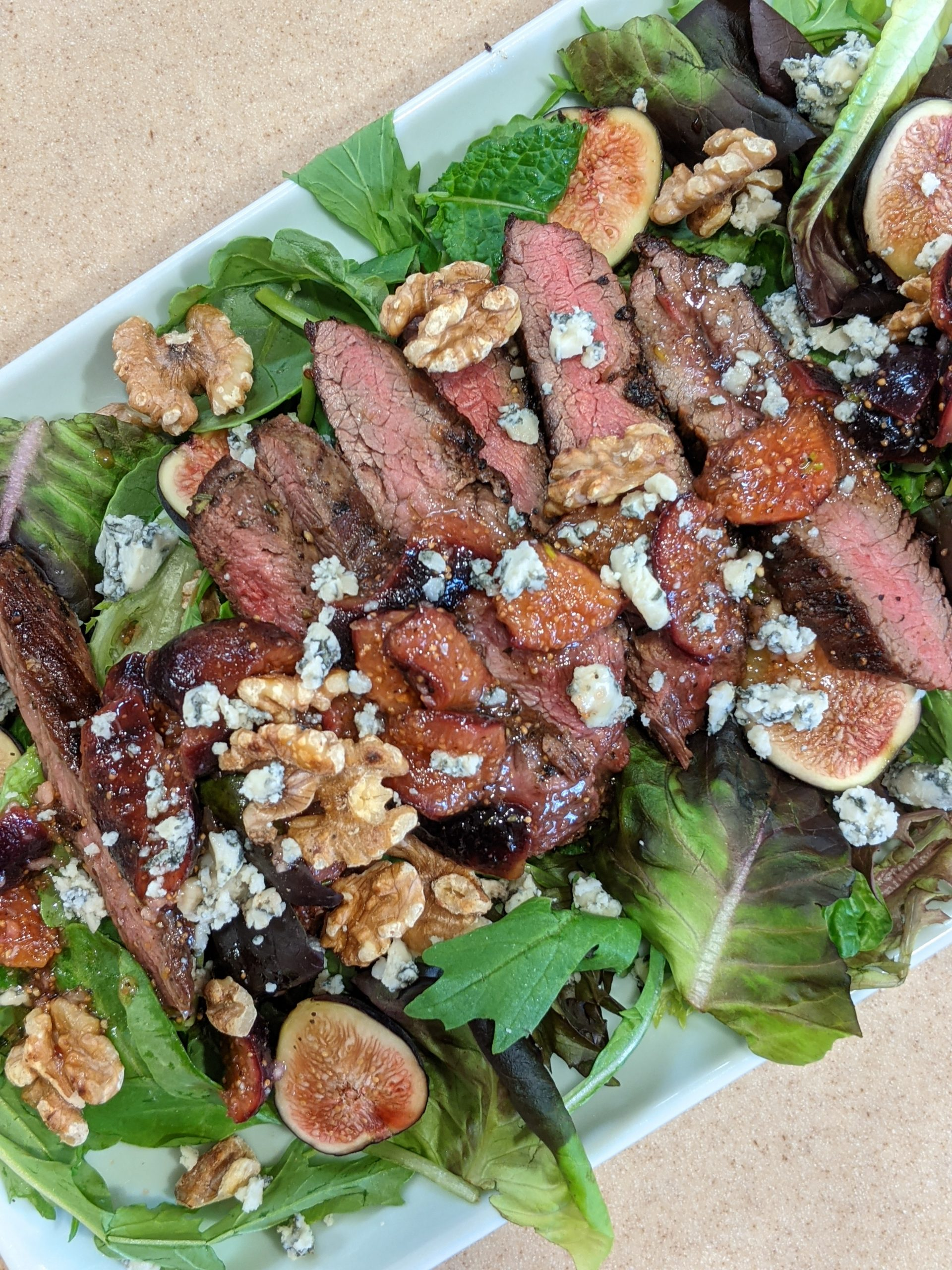100% Local Steak Salad with Fig White Wine Dressing